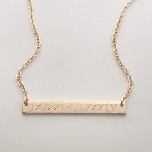 14K Gold Filled Textured Engraved Bar Necklace